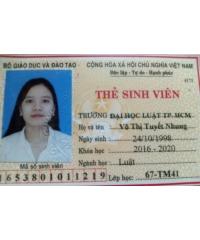 Gia sư Võ Thị Tuyết Nhung Đh Luật Thành phố Hồ Chí Minh